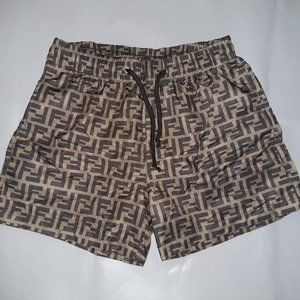 FENDI MEN KHAKI BROWN SWIM TRUNKS